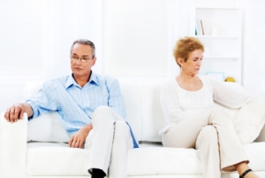 Senior couple having relationship crisis.